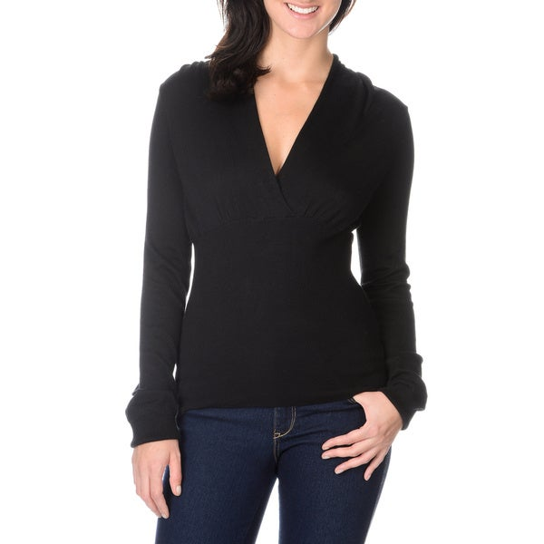 Pierri Women's Black Long Sleeve V-neck Sweater