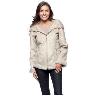 Jones New York Bonded Faux Rabbit Zip Front