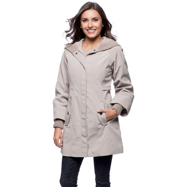 Jones New York Women's Knit Collar Storm Cuff Rain Jacket