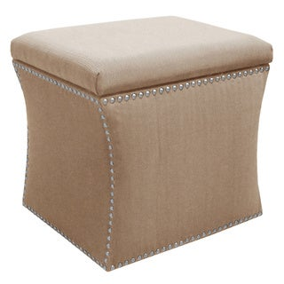 Made to Order Nail Button Beige Storage Ottoman