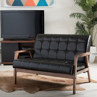 Baxton Studio Mid-Century Masterpieces Loveseat in Brown