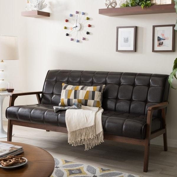 Baxton Studio Mid-Century Masterpieces Sofa in Brown