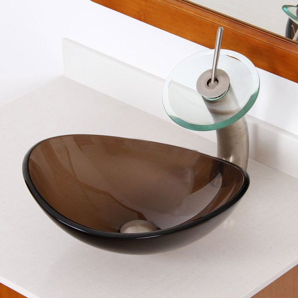 Elite Unique Transparent Brown Bathroom Vessel Sink and Faucet ...