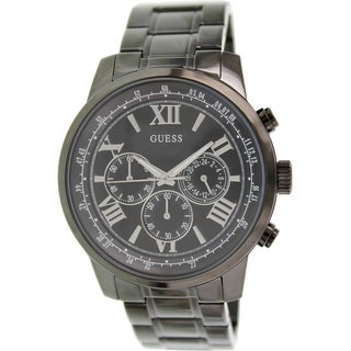 Guess Men's U0379G2 Black Stainless Steel Quartz Watch with Black Dial