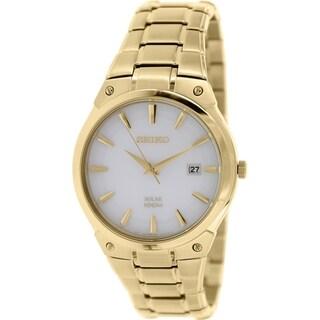Seiko Men's SNE342 Goldtone Stainless Steel Quartz Watch with White Dial