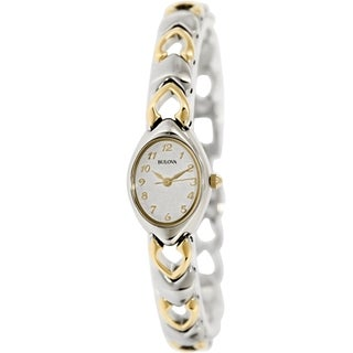 Bulova Women's 98V02 Stainless Steel Quartz Watch with Silver Dial