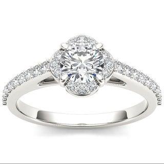 De Couer 14k White Gold 1ct TDW Diamond Single Halo Engagement Ring (H-I, I2)