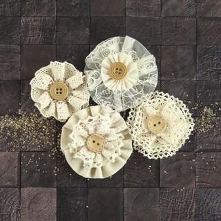 "Capri Paper & Fabric Flowers-Zinfandel, 2"" To 2.5"", 4/Pkg"