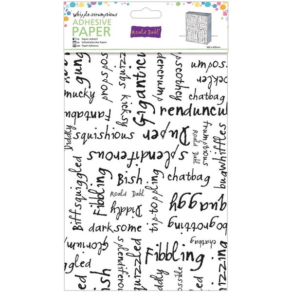 "Roald Dahl Adhesive Paper 24""X18"" -Whipple-Scrumptious Black Alpha Words"