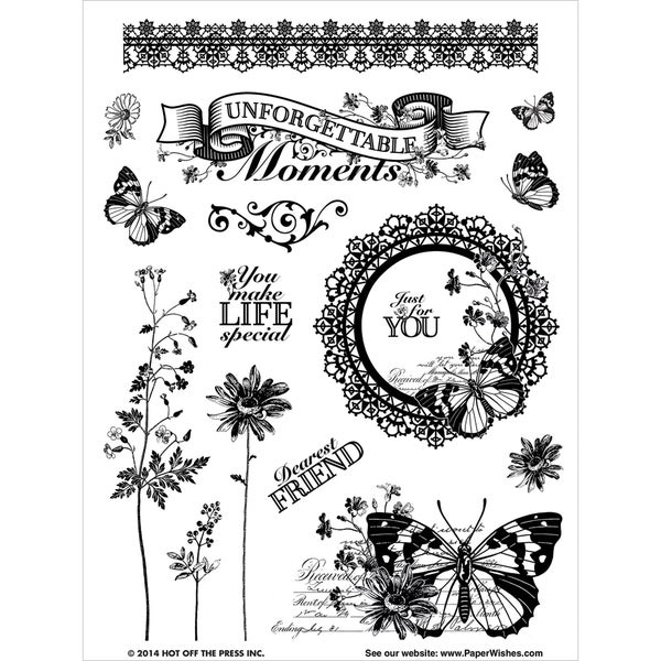"Hot Off The Press Acrylic Stamps 6""X8"" Sheet-Unforgettable"
