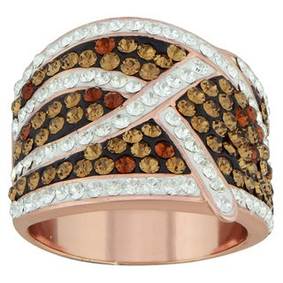 14k Rose Goldplated Over Silver Chocolate Crystal Crisscross Ring
