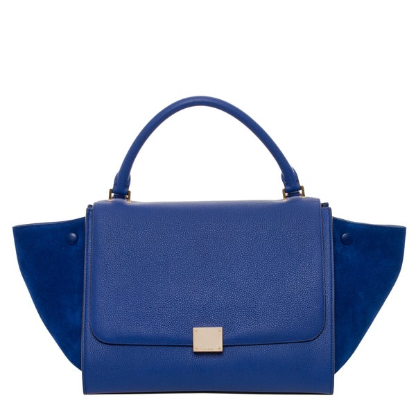 Celine Blue Leather and Suede Trapeze Satchel