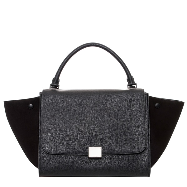 Celine Black Leather and Suede Trapeze Satchel