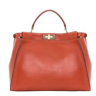 Fendi 'Peekaboo' Red/Orange Large Leather Satchel