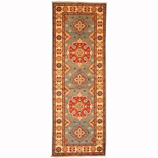 Herat Oriental Afghan Hand-knotted Tribal Kazak Light Green/ Navy Wool Rug (2'1 x 6'6)