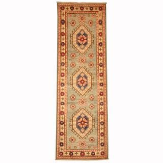 Herat Oriental Afghan Hand-knotted Tribal Kazak Green/ Light Green Wool Rug (2'1 x 6'6)