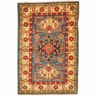 Herat Oriental Afghan Hand-knotted Tribal Kazak Blue/ Red Wool Rug (2'8 x 4'2)