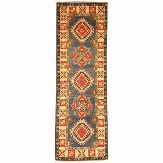Herat Oriental Afghan Hand-knotted Tribal Kazak Blue/ Red Wool Rug (2'1 x 6'2)