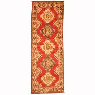Herat Oriental Afghan Hand-knotted Tribal Kazak Red/ Navy Wool Rug (2'1 x 5'11)