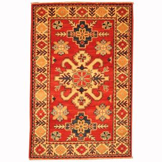 Herat Oriental Afghan Hand-knotted Tribal Kazak Red/ Navy Wool Rug (2'8 x 4')