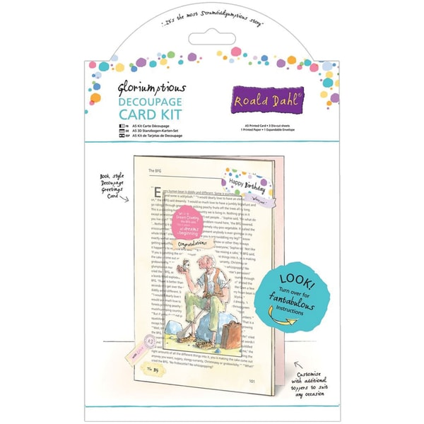 Roald Dahl A5 Decoupage Card Kit-The Big Friendly Giant
