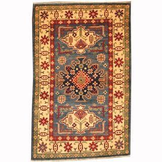 Herat Oriental Afghan Hand-knotted Tribal Kazak Blue/ Navy Wool Rug (2'8 x 4'3)