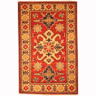 Herat Oriental Afghan Hand-knotted Tribal Kazak Red/ Navy Wool Rug (2'7 x 4'1)