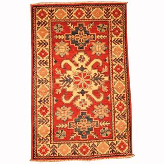 Herat Oriental Afghan Hand-knotted Tribal Kazak Red/ Navy Wool Rug (2'7 x 4')