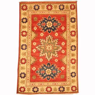 Herat Oriental Afghan Hand-knotted Tribal Kazak Red/ Green Wool Rug (2'8 x 4'1)