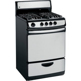 GE 24-inch Stainless Steel Gas Range with 4 Open Burners
