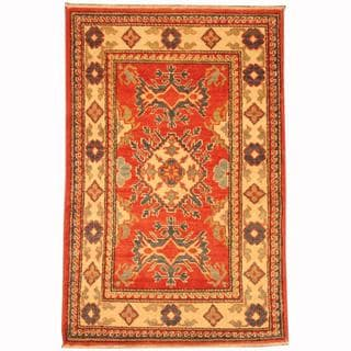Herat Oriental Afghan Hand-knotted Tribal Kazak Red/ Navy Wool Rug (2'6 x 3'9)