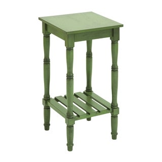 Wood Accent Table in Steel Green Shade with Smooth Finish