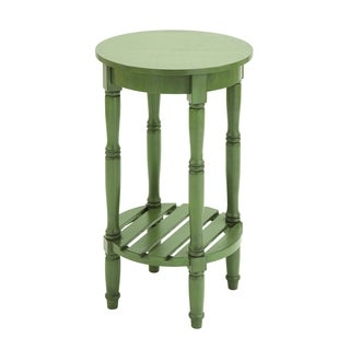 Wood Steel Green Shade Round Side Table