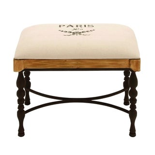 Metal Wood Fabric Stool