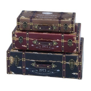 Multicolor Wood Trunk  (Set of 3)
