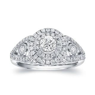 Auriya 14k White Gold 1 1/10ct TDW Round Diamond Ring (H-I, SI1-SI2)