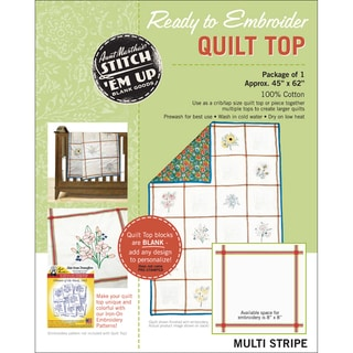 "Stitch 'Em Up Ready To Embroider Quilt Top 45""X62"" -Retro Stripe"