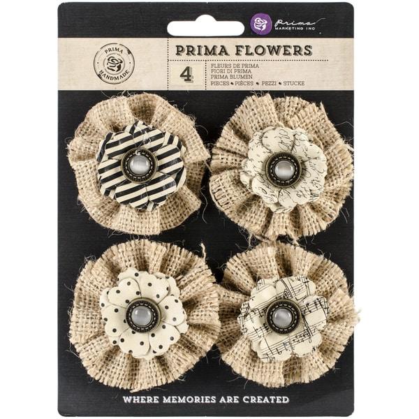 "Capri Paper & Fabric Flowers-Riesling 2.25"", 4/Pkg"