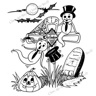 """Class Act Cling Mounted Rubber Stamp 4.25""""X5.75""""-RIP Ghost"""