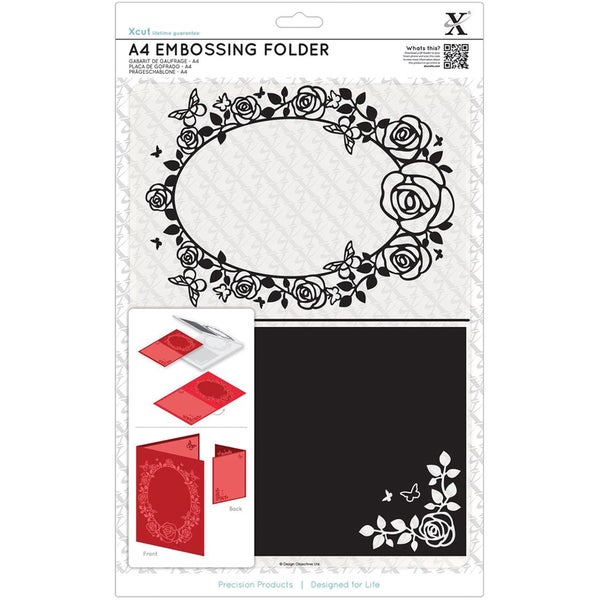 Xcut Universal A4 Embossing Folder-Rose Frame