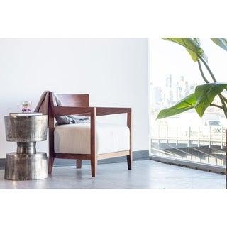 Aurelle Home Dallek Off-white Mid Century Modern Arm Chair