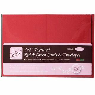 "Anita's Textured Cards/Envelopes 5""X7"" 20/Pkg-Red & Green"