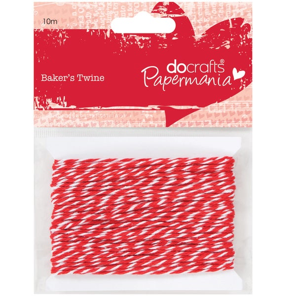 Papermania Baker's Twine 10m-Red & White