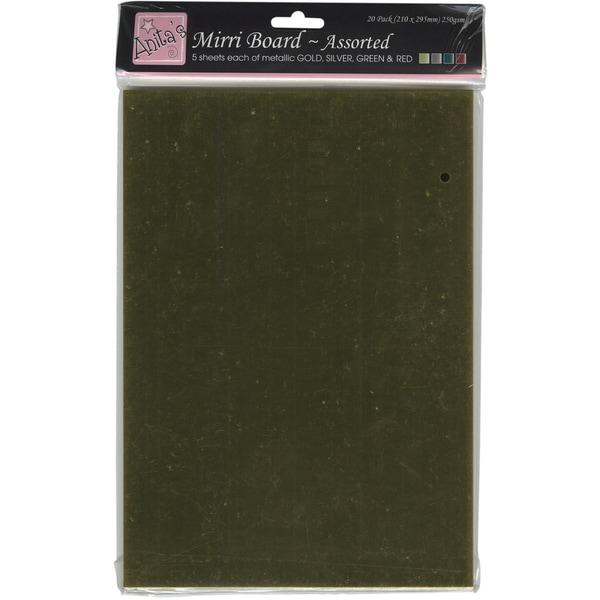 Anita's 250gsm Mirri Board A4 20/Pkg-Red, Green, Gold & Silver