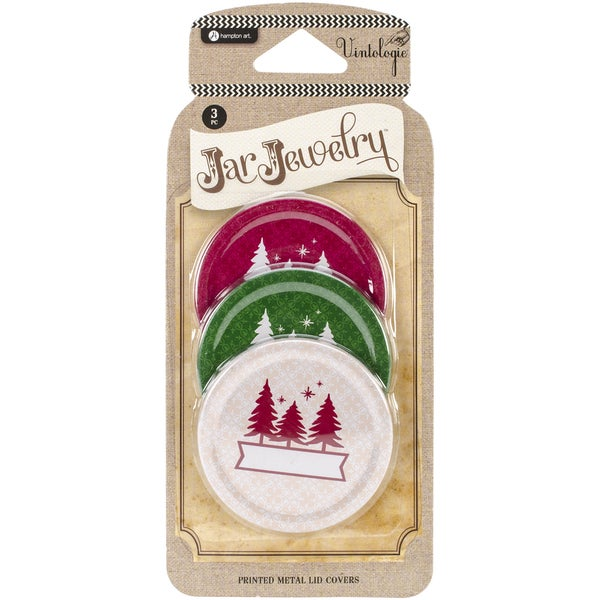 Vintologie Collection-Three Tree Print Metal Lid Cover 3/Pkg-Red, Ivory, and Green