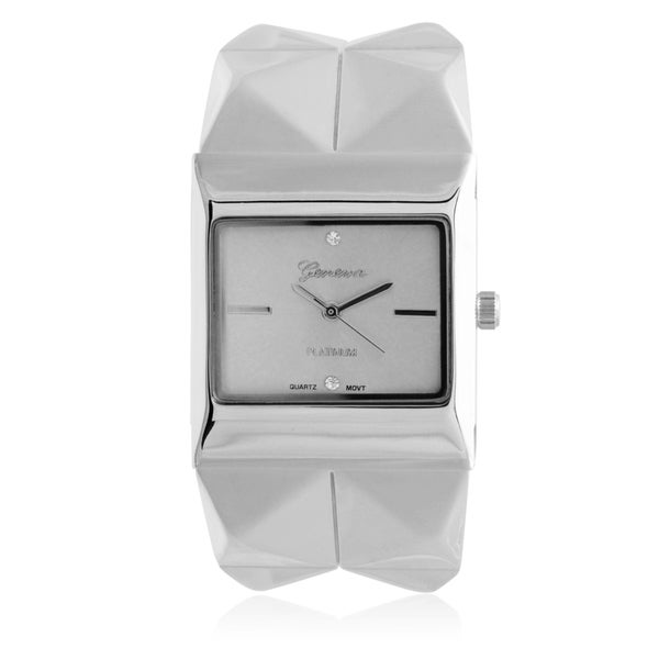 Geneva Platinum Rhinestone Square Face Cuff Watch