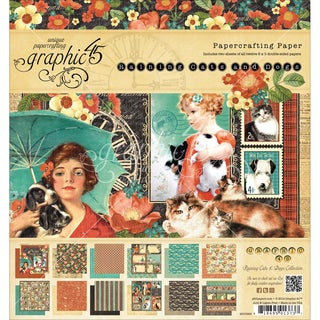 "Graphic 45 Paper Pad 8""X8"" 24/Pkg-Raining Cats & Dogs"