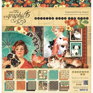 "Graphic 45 Paper Pad 12""X12"" 24/Pkg-Raining Cats & Dogs"