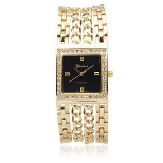 Geneva Platinum Rhinestone Quartz Bracelet Watch