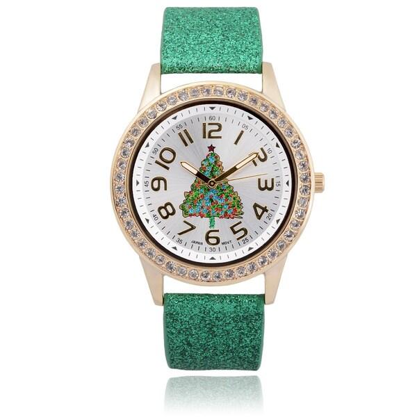 Geneva Platinum Holiday Glitter Band Watch